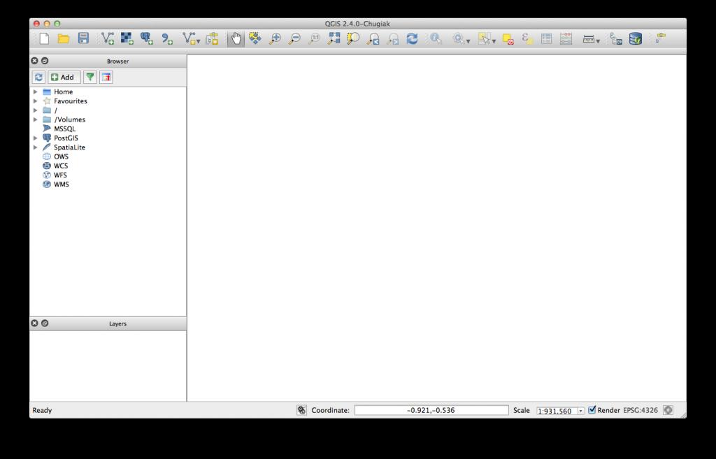 QGIS 2.4 GUI fresh after installation