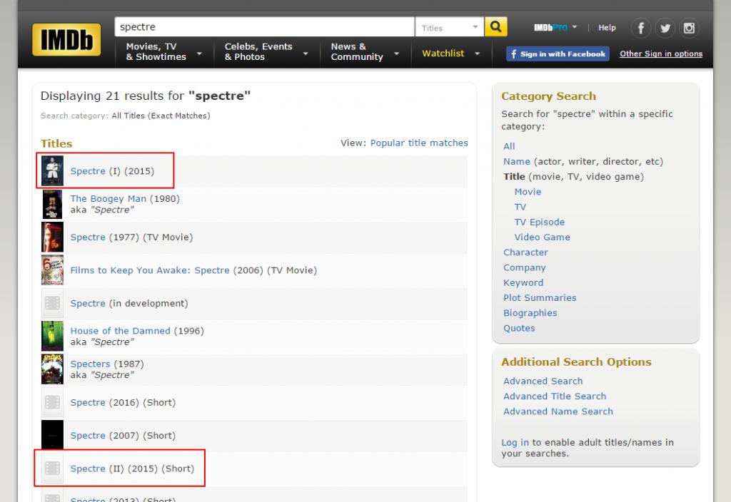 """Exakte Titel-Treffer der IMDb-Datenbank für """"Spectre"""""""