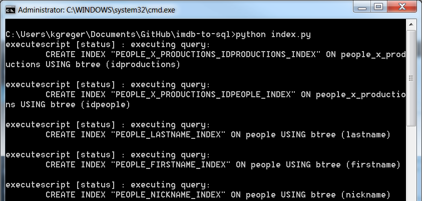 Running index.py on the Windows command line
