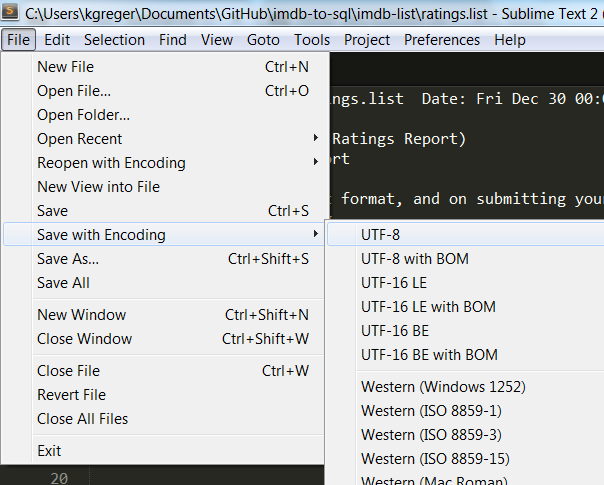 Saving with different encoding in Sublime