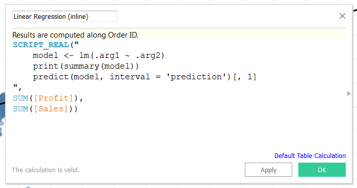Run R code inline in a Calculated Field in Tableau