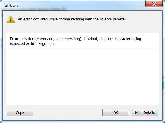 Tableau error message: R's system() expects character string as first argument.