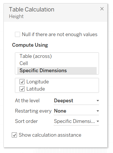 Edit the table calculation to address both Latitude and Longitude