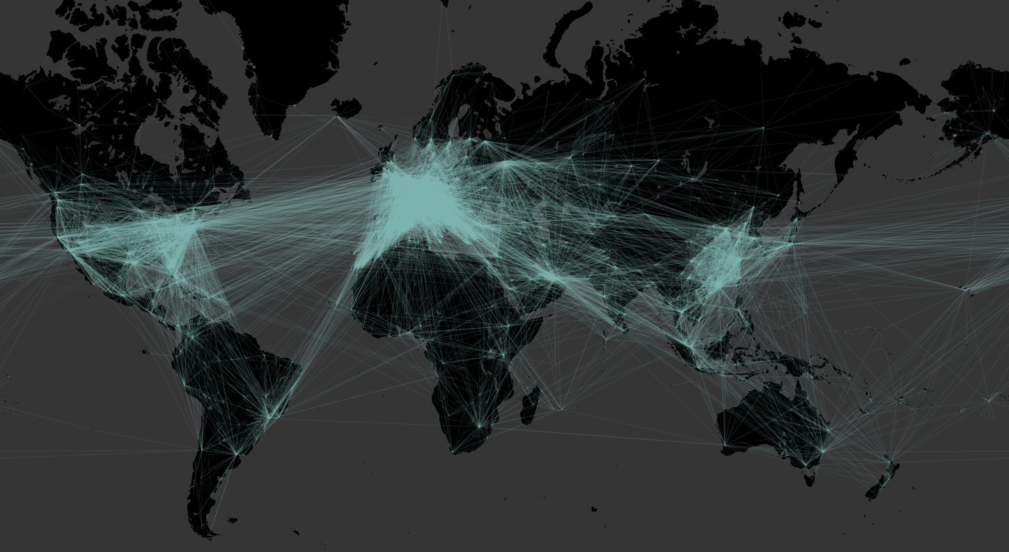 The OpenFlights.org route network visualized in Tableau