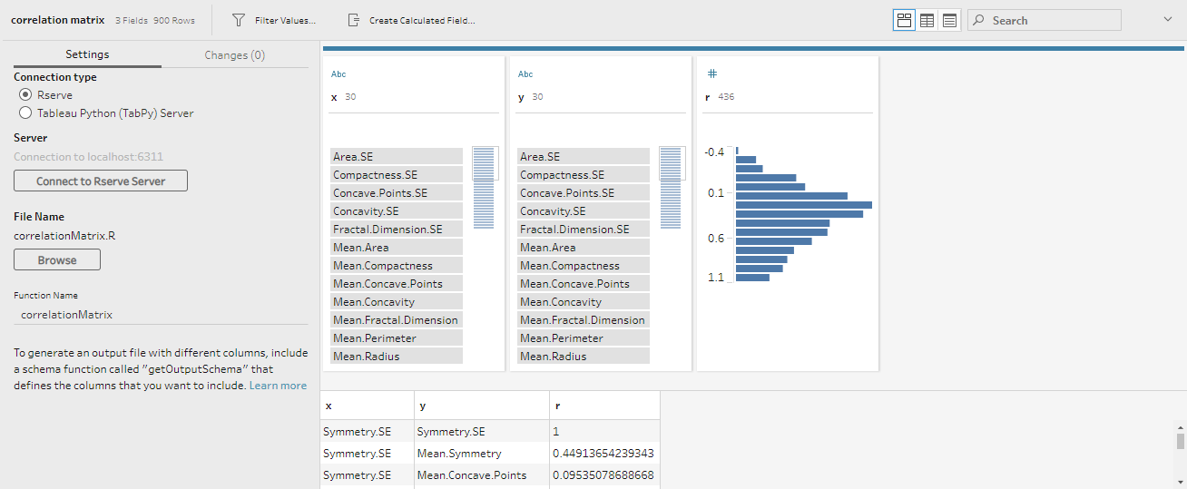 Interface of Script steps in Tableau Prep Builder